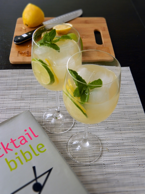 White Wine Spritzer with Lemon Lime and Mint 1