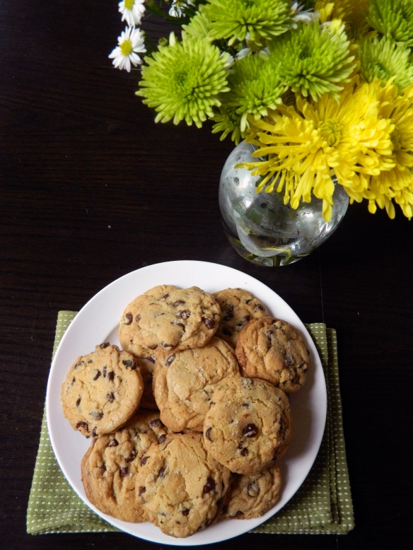 Salted Dark Chocolate Chip Cookies with Thyme